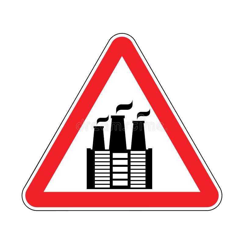注意工厂 被禁止的环境污染 红色trian 向量例证