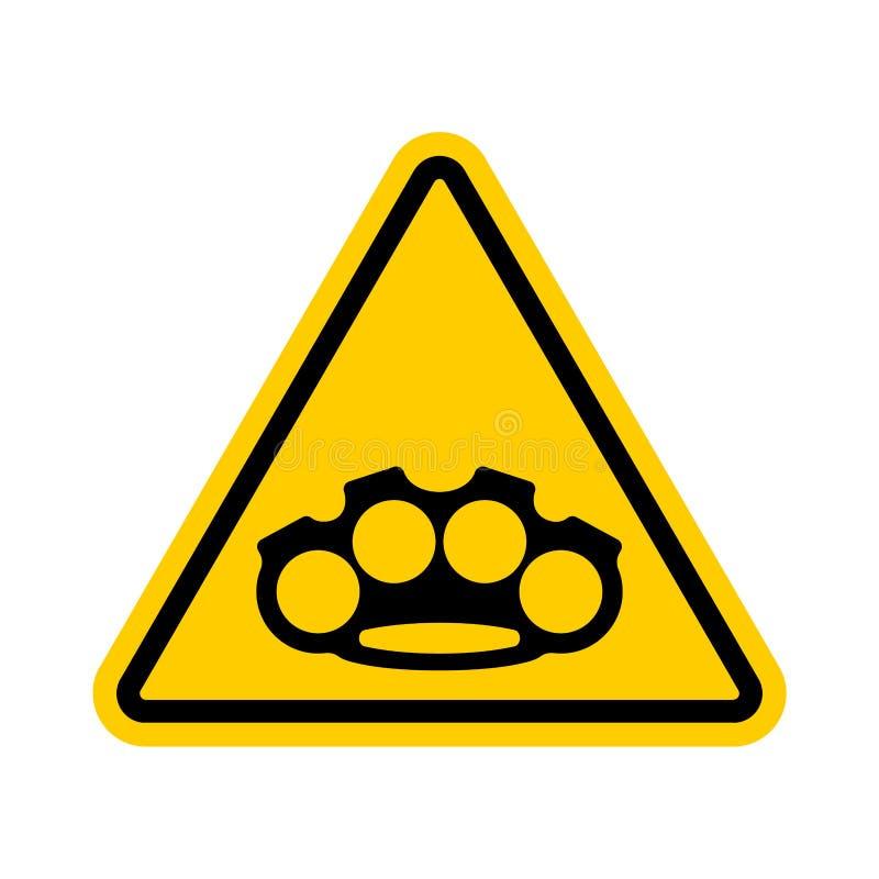 注意指节铜环 小心武器强盗 黄色路proh 皇族释放例证