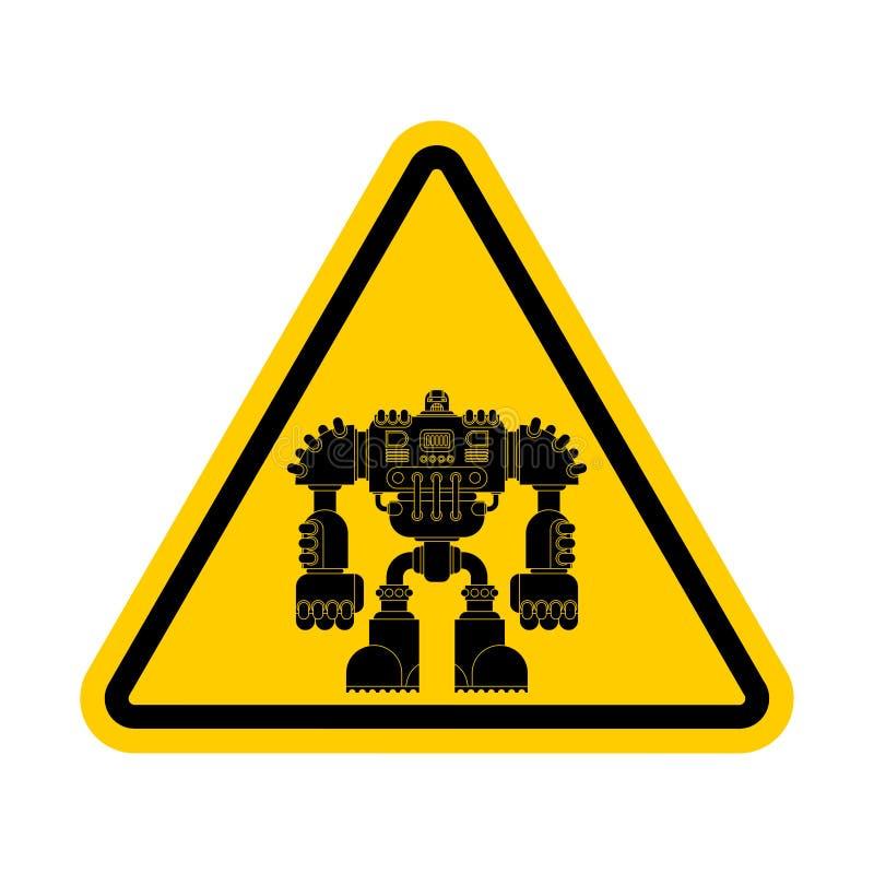 注意机器人 小心黄色路标靠机械装置维持生命的人战士未来 皇族释放例证