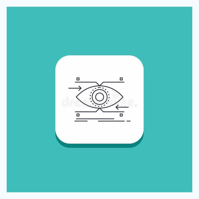 注意的圆的按钮,眼睛,焦点,看,视觉线象绿松石背景 向量例证