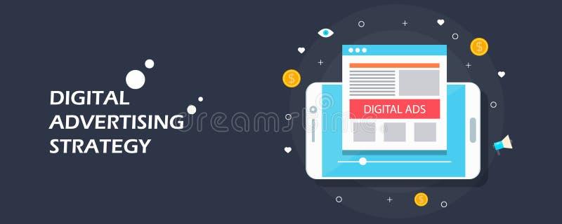 注意的数字式-流动广告,在社会媒介,入站营销概念的录影广告 平的设计传染媒介横幅 向量例证