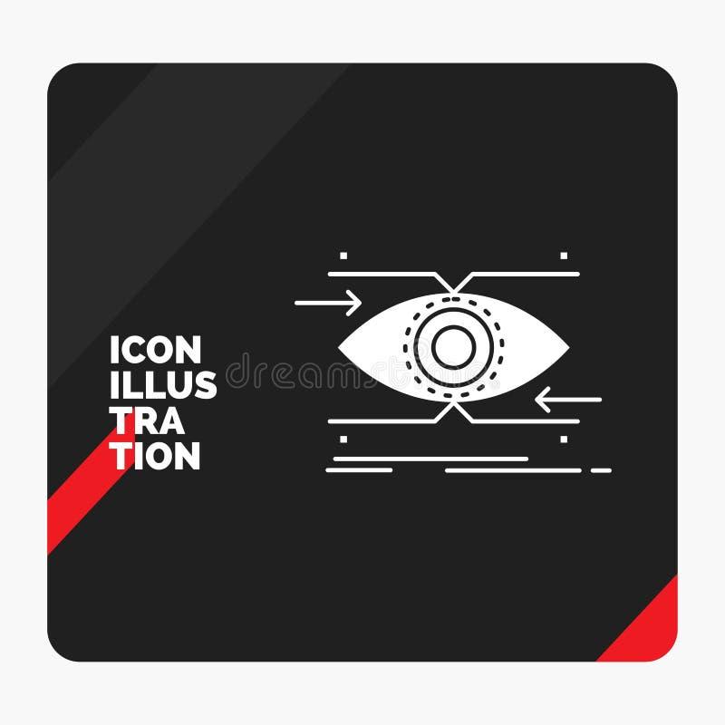 注意的红色和黑创造性的介绍背景,眼睛,焦点,看,视觉纵的沟纹象 皇族释放例证