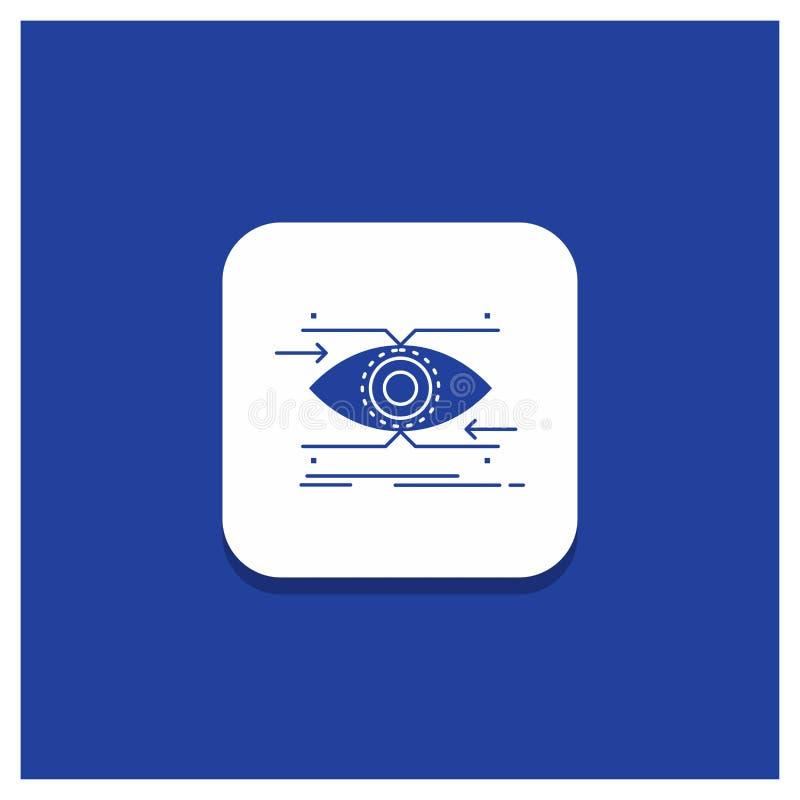 注意的蓝色圆的按钮,眼睛,焦点,看,视觉纵的沟纹象 库存例证