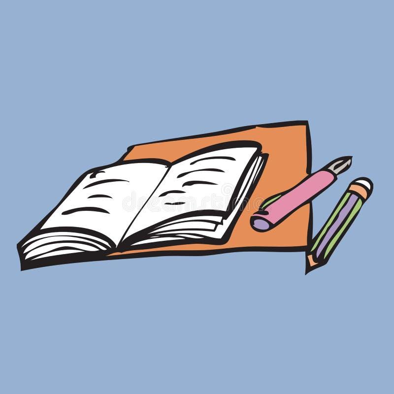 注意笔和铅笔 向量例证