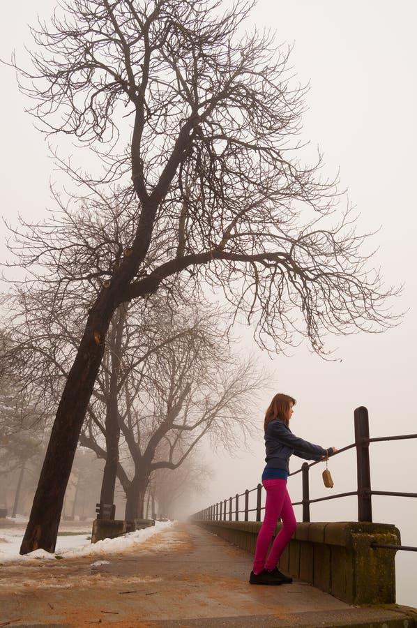 注意薄雾的孤独的十几岁的女孩 图库摄影
