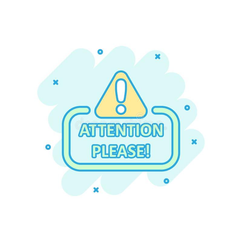 注意请签署在可笑的样式的象 在白色被隔绝的背景的警告的信息向量动画片例证 向量例证