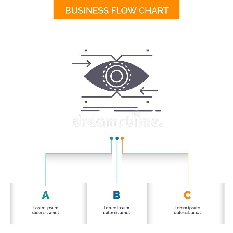 注意,眼睛,焦点,看,视觉企业与3步的流程图设计 r 向量例证