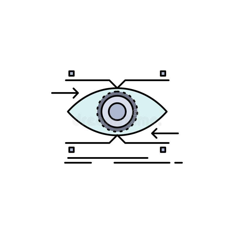 注意,眼睛,焦点,看,视觉平的颜色象传染媒介 库存例证