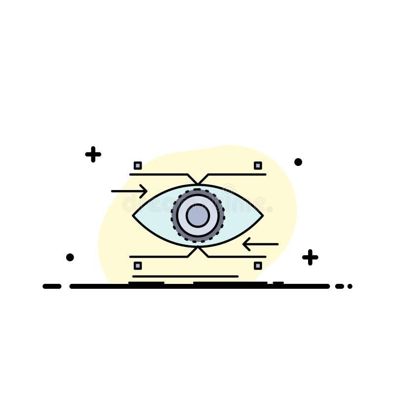 注意,眼睛,焦点,看,视觉平的颜色象传染媒介 向量例证