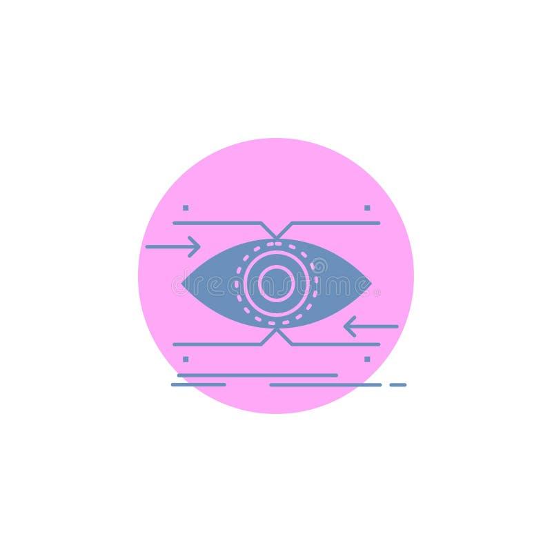 注意,眼睛,焦点,看,视觉纵的沟纹象 向量例证