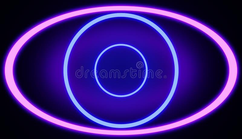 注视在桃红色和蓝色颜色的形状的霓虹线 回报 库存例证