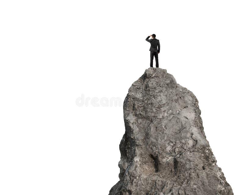 注视在白色隔绝的岩石小山顶部 免版税库存照片