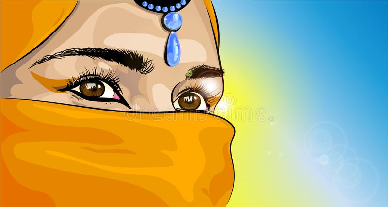 注视有burka的东部女孩 皇族释放例证