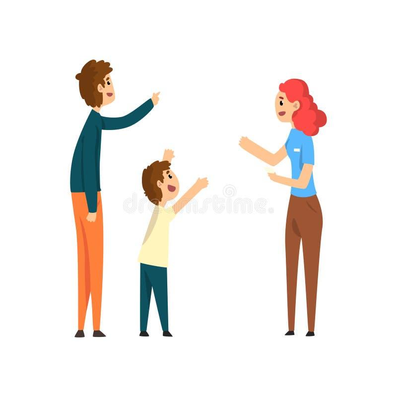 注视着和指向某事传染媒介例证的幸福家庭、父母和他们的儿子 皇族释放例证