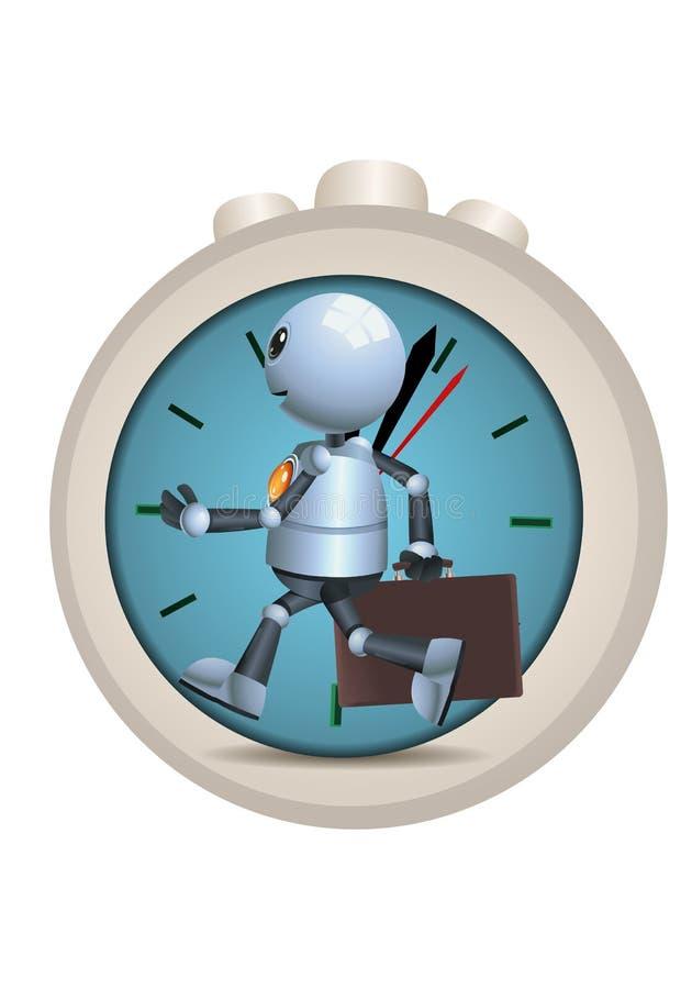 注重运行反对时间的一点机器人 向量例证
