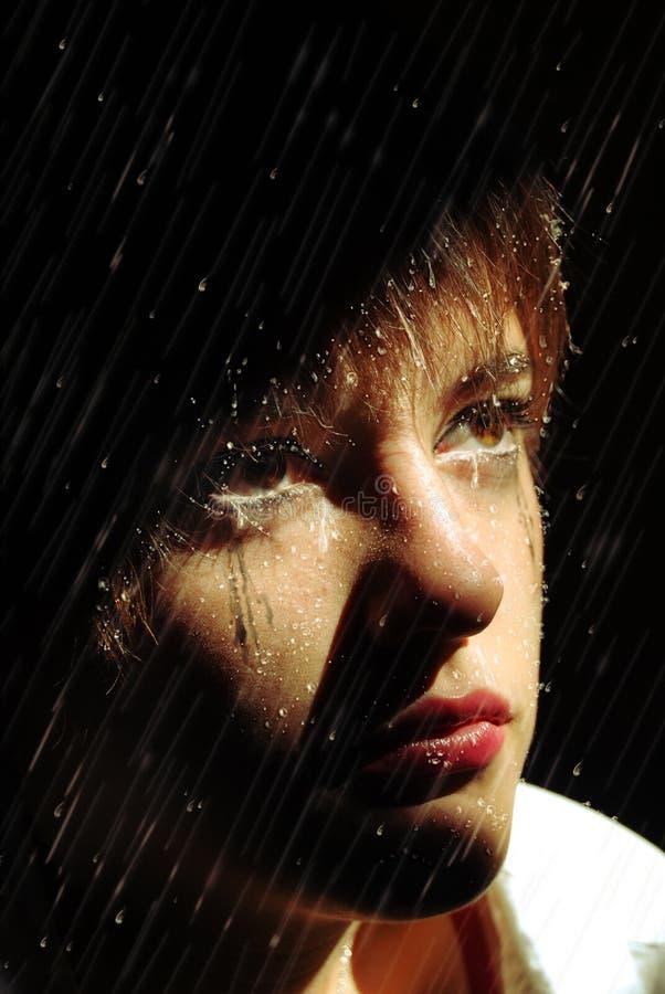 泪花在雨中 库存照片