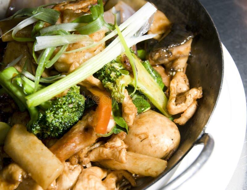泰国亚洲鸡食物平底锅的虾 免版税库存图片