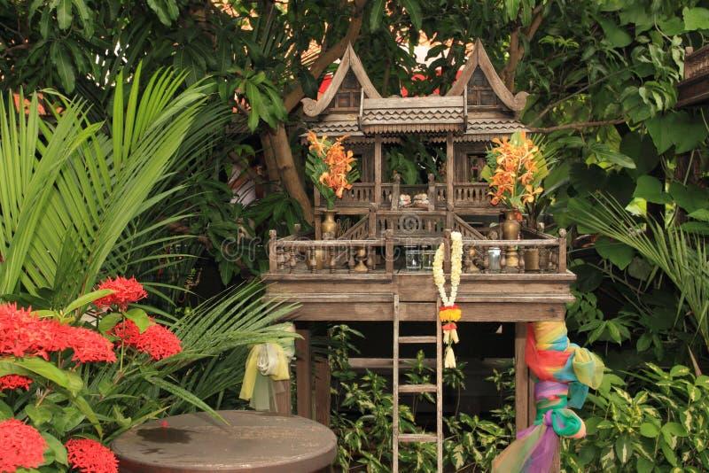 泰国传统木精神房子 图库摄影