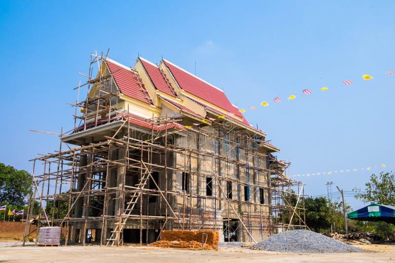 泰国佛教寺庙建设中 免版税图库摄影