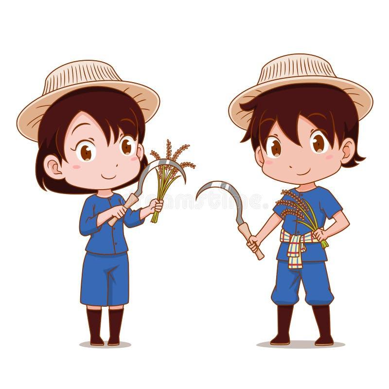 泰国农夫逗人喜爱的夫妇动画片  皇族释放例证
