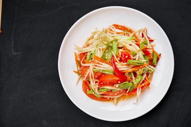 泰国刺激性食物索马里兰胃或绿色番木瓜沙拉 免版税库存图片