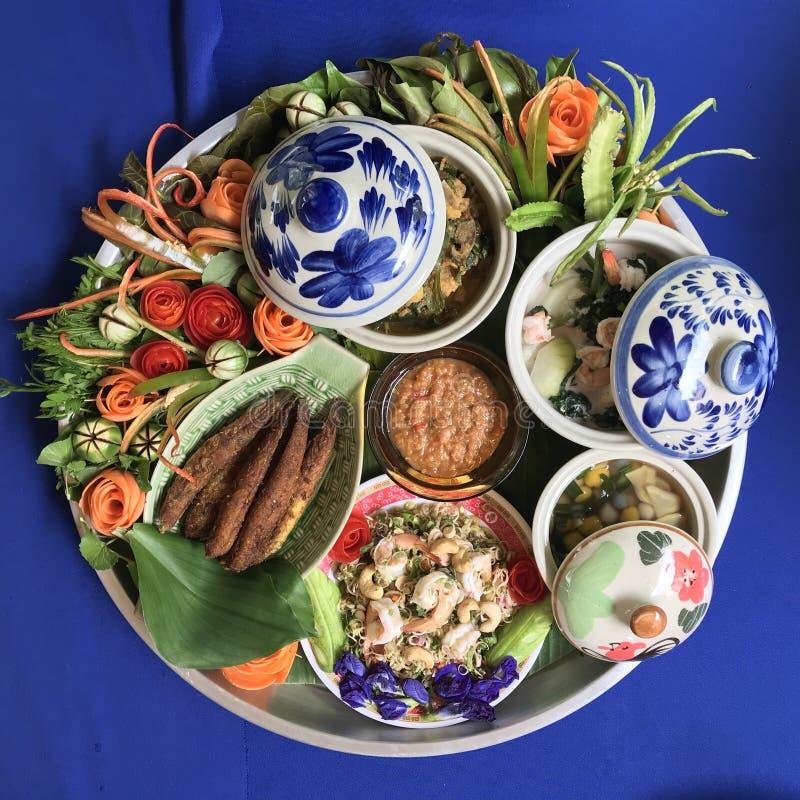 泰国南部食物装饰盘子  库存图片