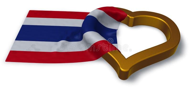 泰国和心脏旗子  库存例证
