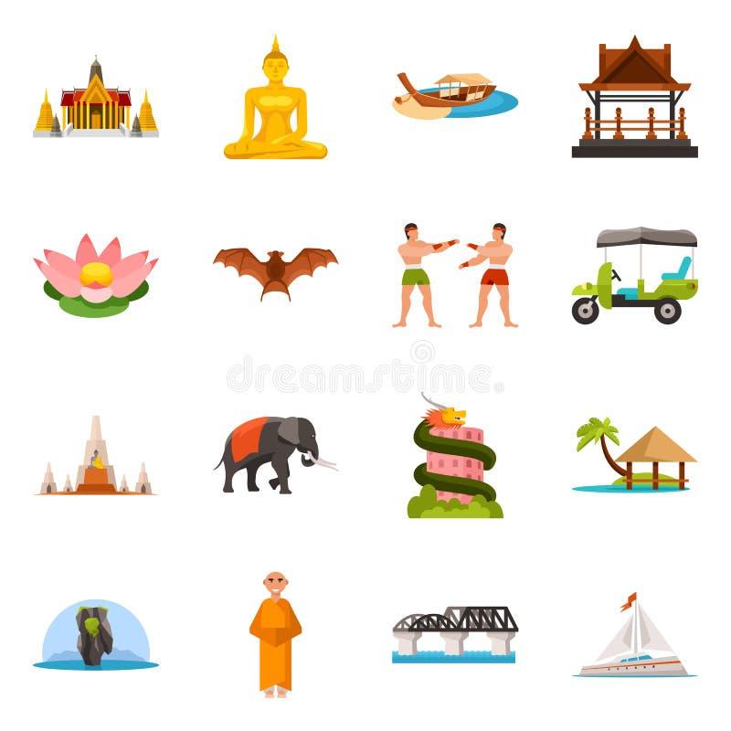 泰国和旅行标志的传染媒介例证 泰国和文化储蓄传染媒介例证的汇集 向量例证