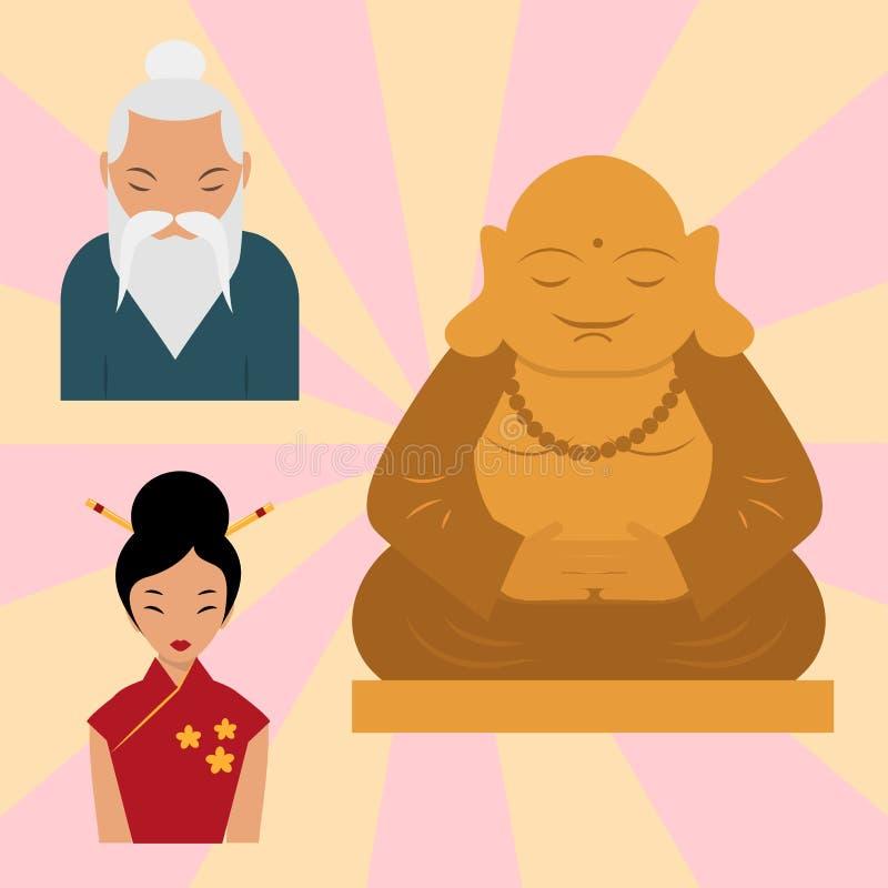 从泰国和谐budha文化精神凝思雕塑传染媒介例证的Budda雕象 向量例证