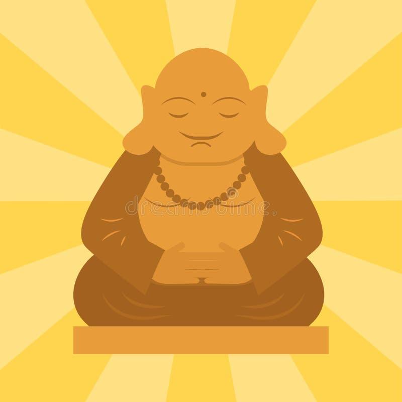 从泰国和谐budha文化精神凝思雕塑传染媒介例证的Budda雕象 库存例证