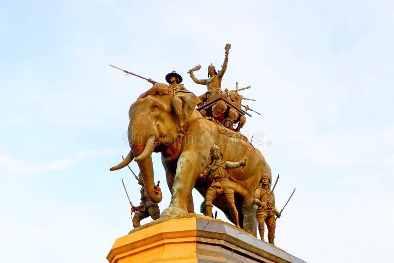 泰国国王雕象,做下一代记住好 免版税库存照片