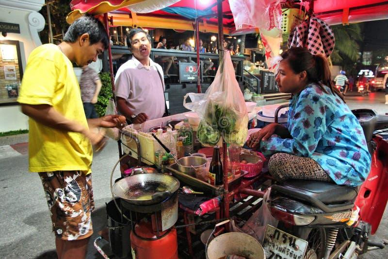 泰国在塑料袋的街道food.curry装箱 免版税库存照片