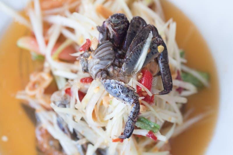 泰国在板材的食物辣绿色番木瓜沙拉螃蟹 库存照片