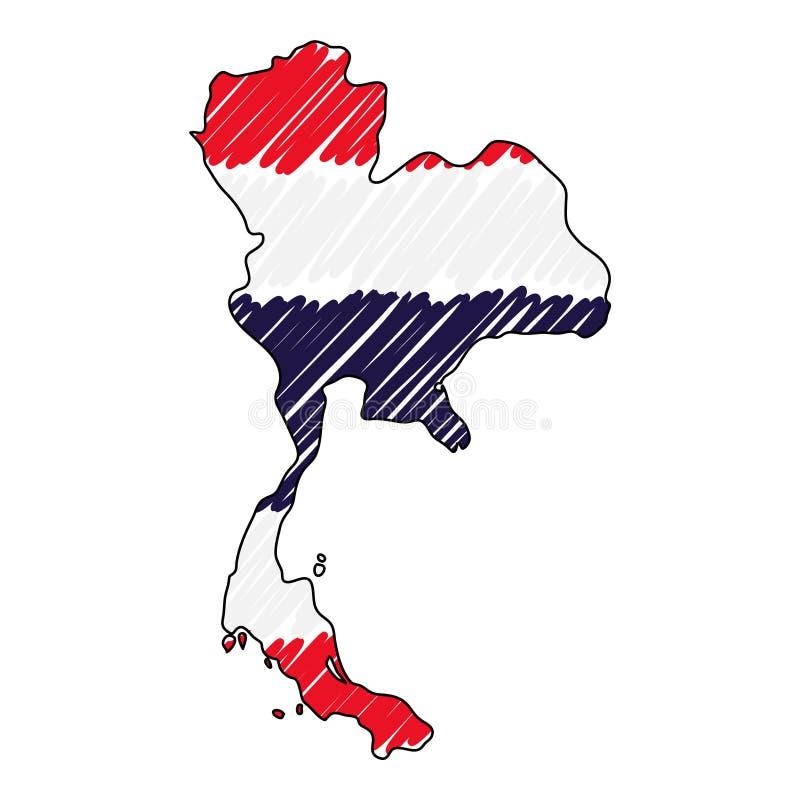 泰国地图手拉的剪影 传染媒介概念例证旗子,儿童的图画,杂文地图 国家地图为 皇族释放例证