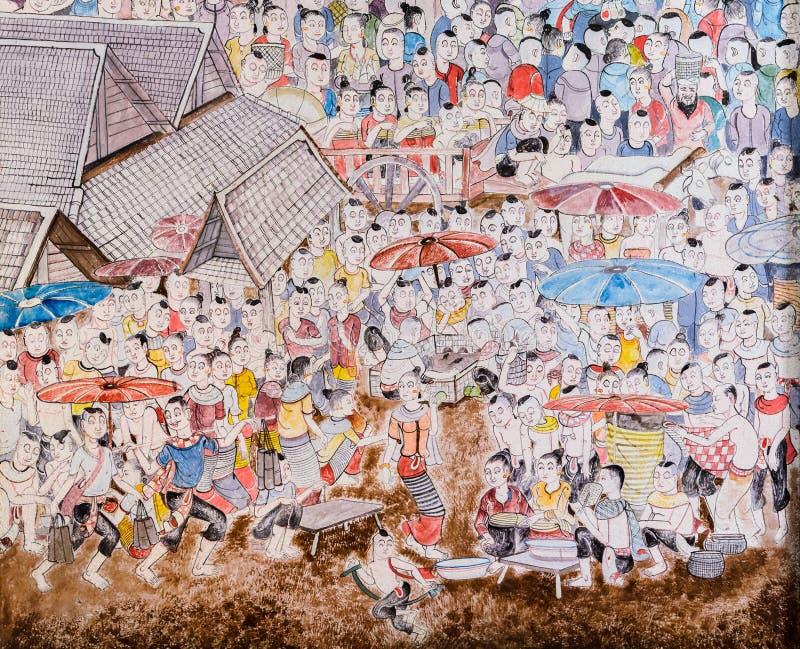 泰国壁画艺术 免版税库存图片