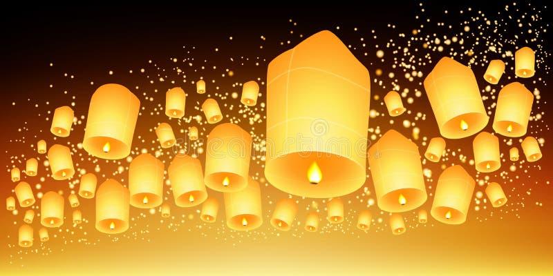 泰国天空灯会、Loy Krathong和伊彭节日 皇族释放例证