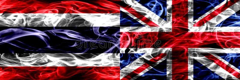 泰国对英国,肩并肩被安置的英国烟旗子 重摘要色的柔滑的烟旗子 向量例证
