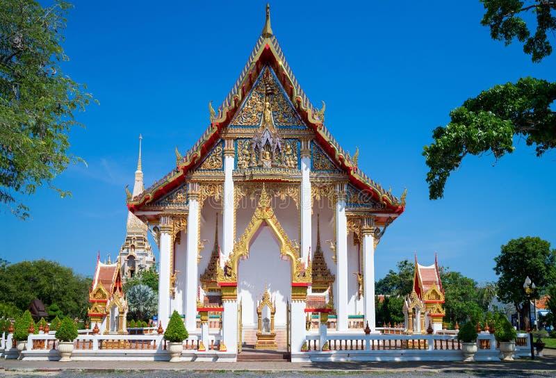 泰国寺庙, Wat查龙-普吉岛,泰国 免版税图库摄影