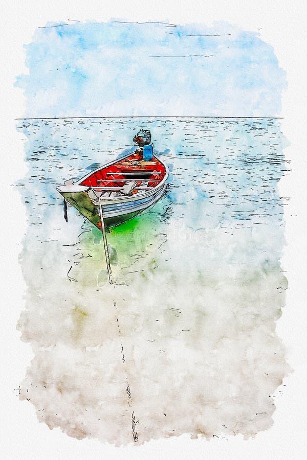 泰国小船的水彩例证在海的 免版税库存照片