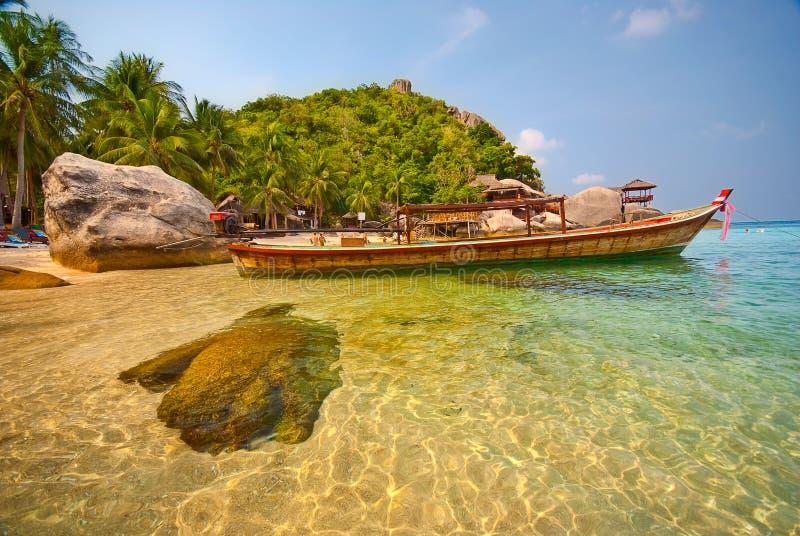 泰国小船的盐水湖 图库摄影
