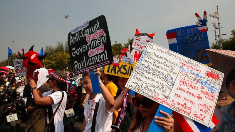 泰国抗议者培养反政府板材 库存照片