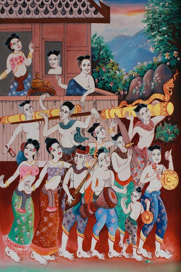 泰国文化爱好的传统火箭节日标志绘画,在寺庙墙壁上的泰国样式绘画 库存图片