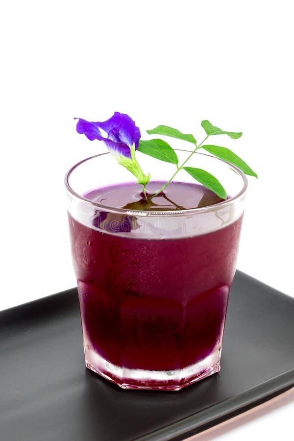 泰国新鲜的健康草本饮料陈汁液有柠檬汁蝴蝶豌豆floweron白色背景 免版税库存照片