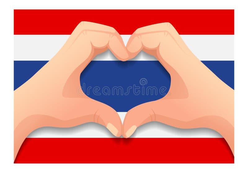 泰国旗和手心形状 向量例证