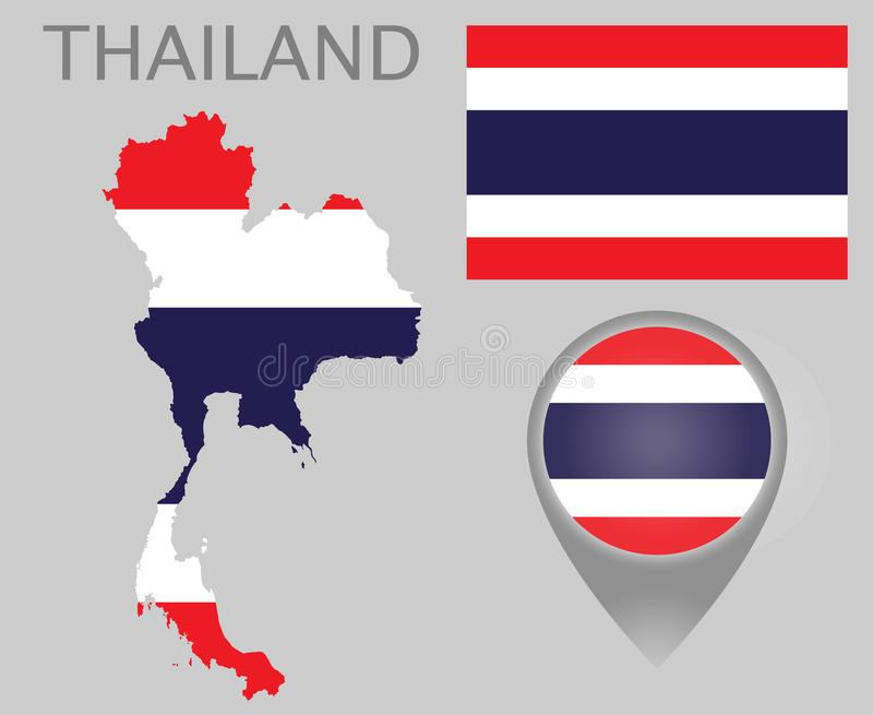 泰国旗子、地图和地图尖 库存例证