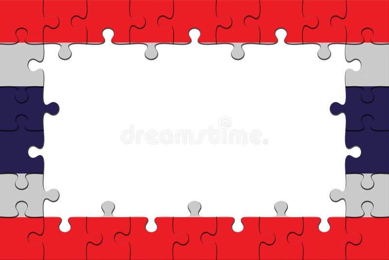 泰国旗子与拷贝空间,3d的拼图片断框架例证 库存例证