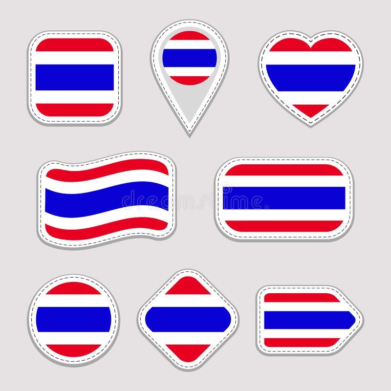 泰国旗子传染媒介集合 泰国国旗贴纸收藏 传染媒介被隔绝的几何象 网,运动栏,爱国, 库存例证