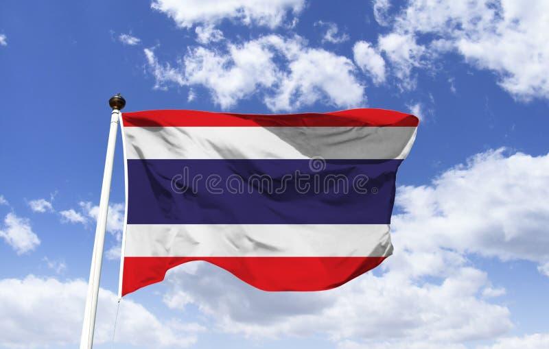 泰国旗子大模型,振翼在天空蔚蓝下 库存图片
