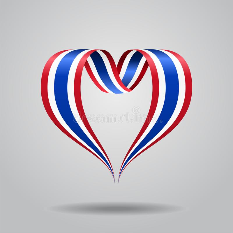 泰国旗子心形的丝带 也corel凹道例证向量 库存例证