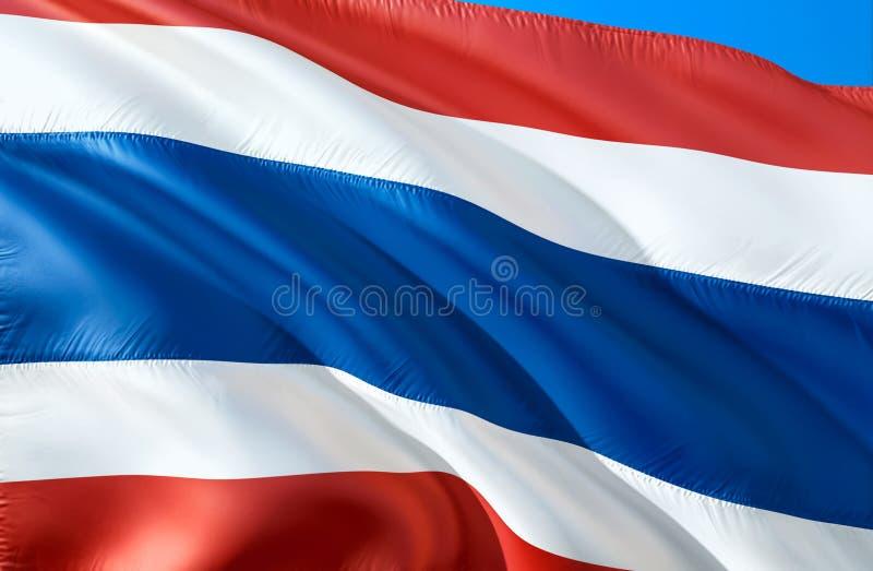 泰国标志 3D挥动的旗子设计 泰国的国家标志,3D翻译 泰国全国颜色 泰国3D挥动的标志 皇族释放例证